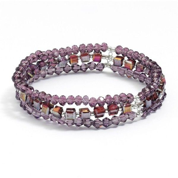 Silver Plated Purple Crystal Bead Multistrand Stretch Bracelet ($16) ❤ liked on Polyvore