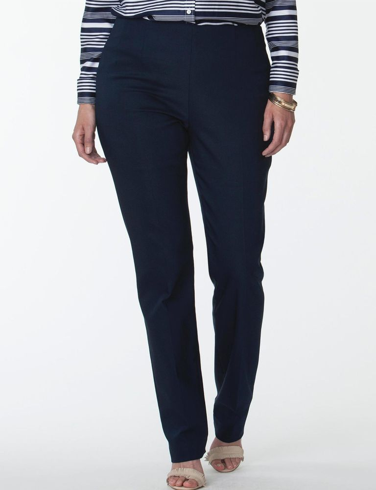 d9040cde Chaps Womens Plus Straight Fit Pants Side Zip Stretch Navy size 24W NEW  https:/