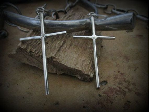 Cross Earrings Contemporary Jewelry Handmade by SterlingWear, $39.50