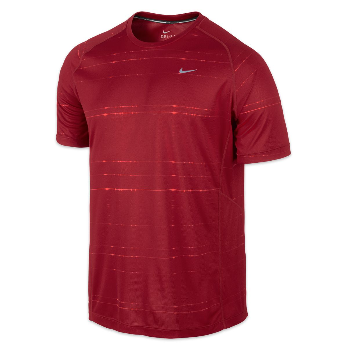 Nike Printed Miler Tee Dri-FIT fabric pulls away sweat for quick evaporation. Crew neck with interior taping for a comfortable fit.