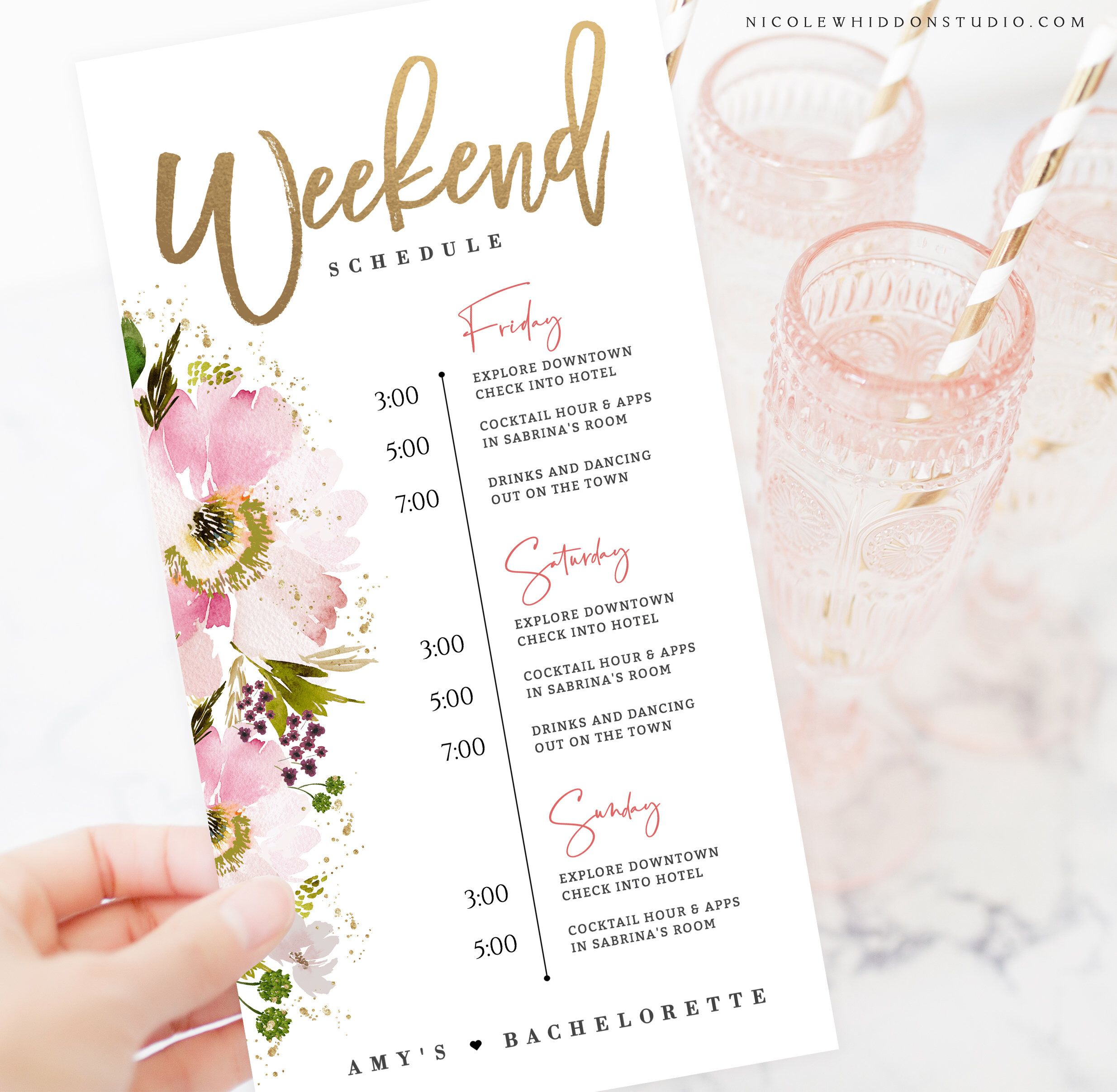 Bachelorette Weekend Itinerary Editable Template Wedding Etsy In 2021 Bachelorette Weekend Itinerary Bachelorette Invitations Wedding Order Of Events