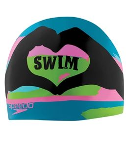 Speedo I Heart Swim Silicone Swim Cap