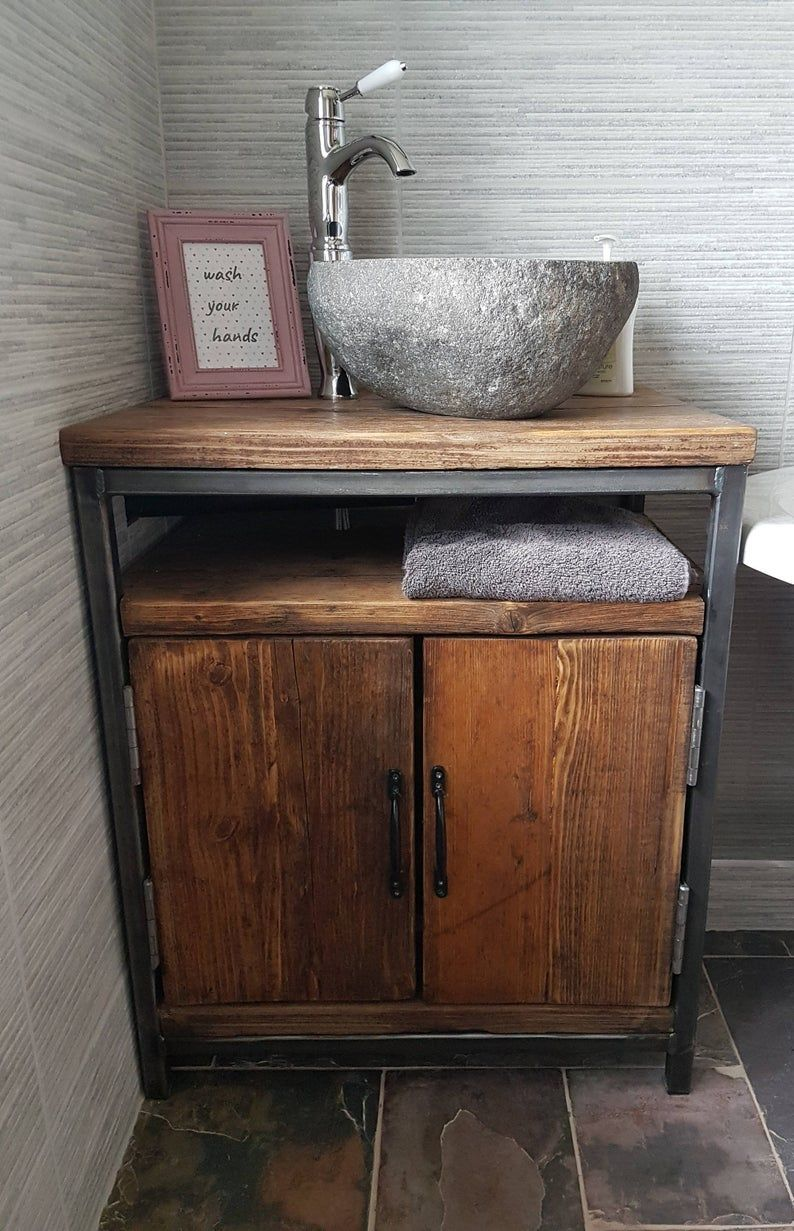 Reclaimed Industrial Bathroom Basin Washstand With Doors Sideboard Table Bar Cafe Office Steel Solid Wood Metal Hand Made Rustic 590 In 2020 Rustikale Bad Eitelkeiten Badezimmer Holz Und Zen Badezimmer