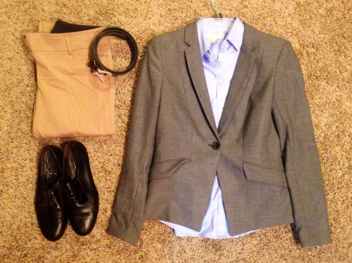 Fall Work: H&M grey blazer, Banana Republic blue collared button up shirt, Express black belt, Express camel straight-legged pants, AGL black oxfords