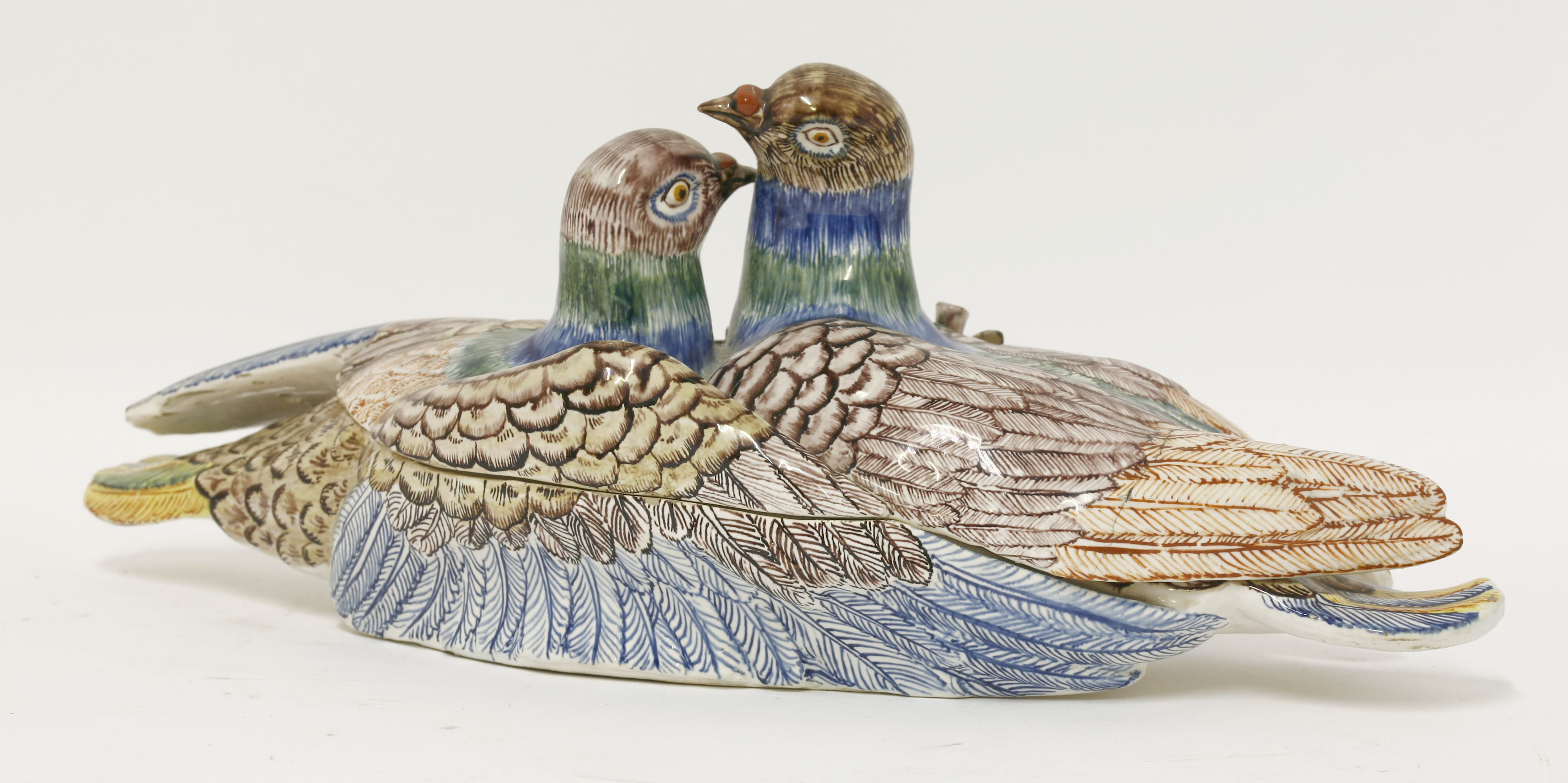 An unusual faience dove Tureen and Cover,  c.1870, after a Strasbourg original £500-700 16th June 2015