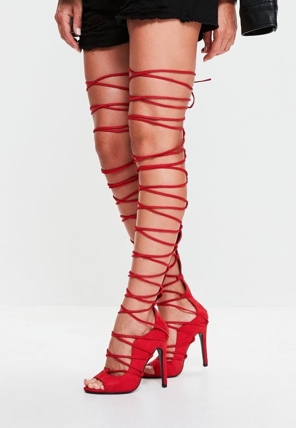 Show off your legs in these red faux suede gladiator sandals. Featuring a  lace up knee high design - these beauts go straight to our lust list. a7a8d519c2f
