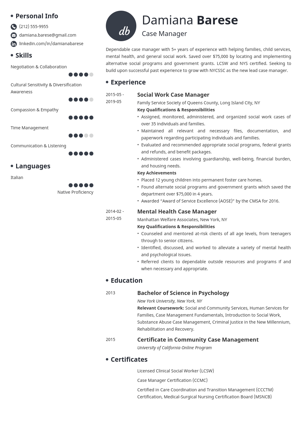 case manager resume example template initials in 2020