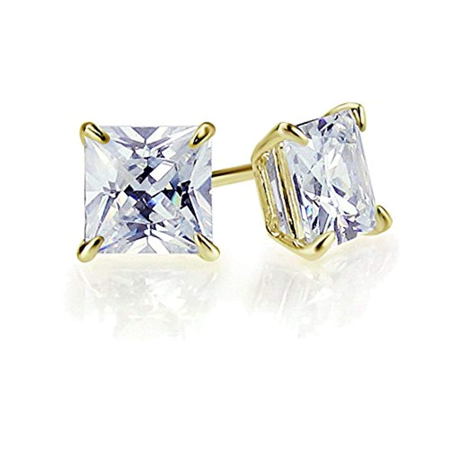 14k Solid White or Yellow Gold Cubic Zirconia Stud Earrings Basket Set CZ