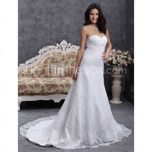 Look at what my sister found me! - A line Sweetheart Sweep Brush Train Lace Over Satin Wedding Dress