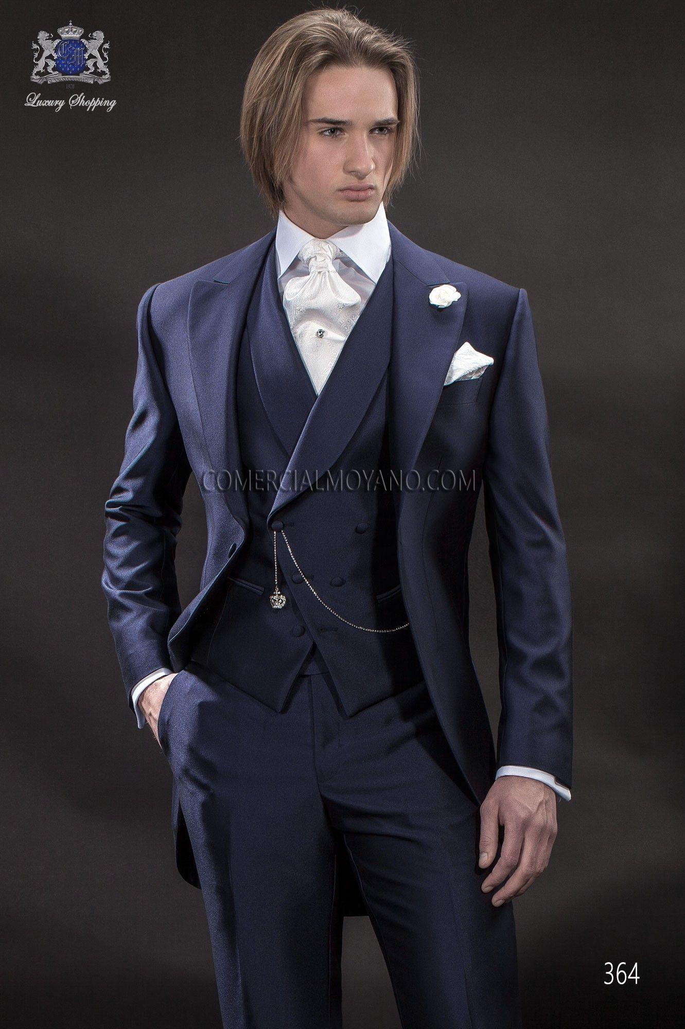 Italian blue short frock wedding suit style 364 Ottavio