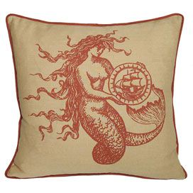 Mermaid Linen Pillow in Coral Sand