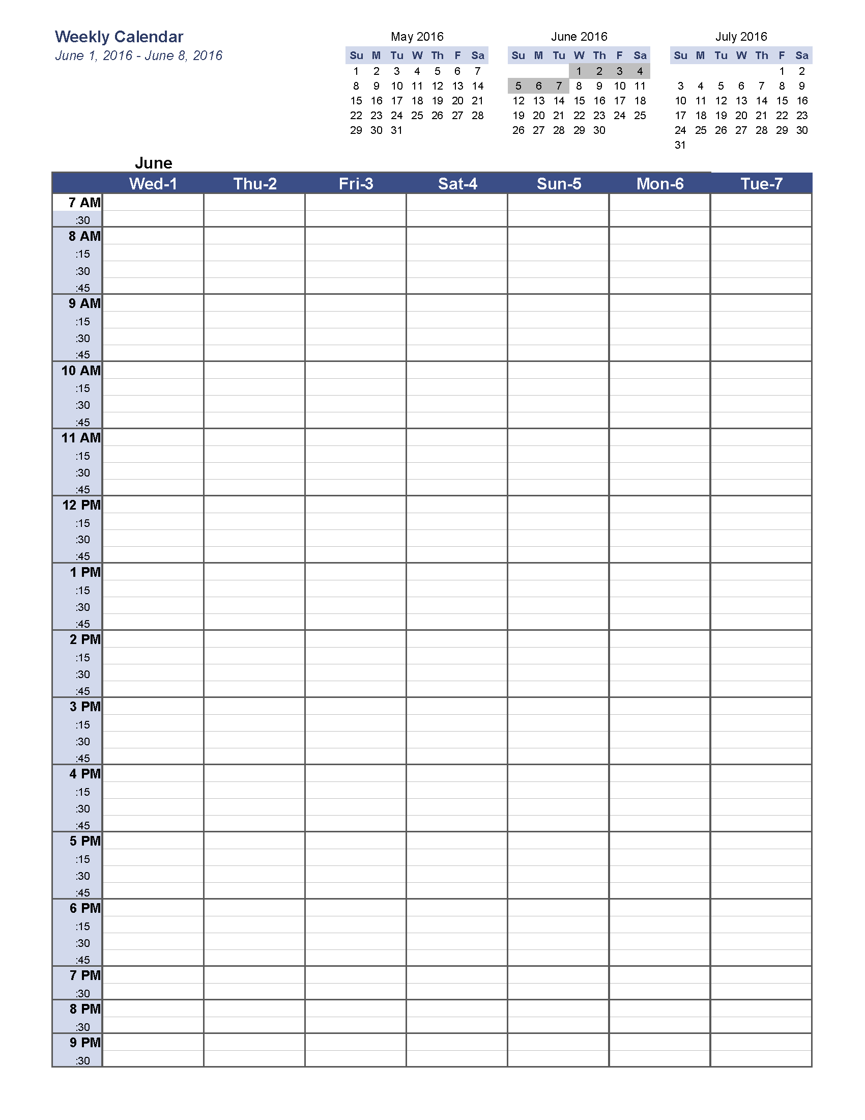 Weekly Calendar Template Image By Stuff On Time Management