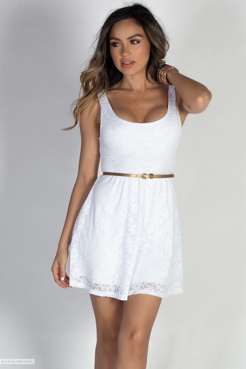 Scoop Neck Wide Tank Strap A Line White Lace Skater Dress With Belt Casual Dress Outfits Cute Casual Dresses Little White Dresses [ 1500 x 1000 Pixel ]