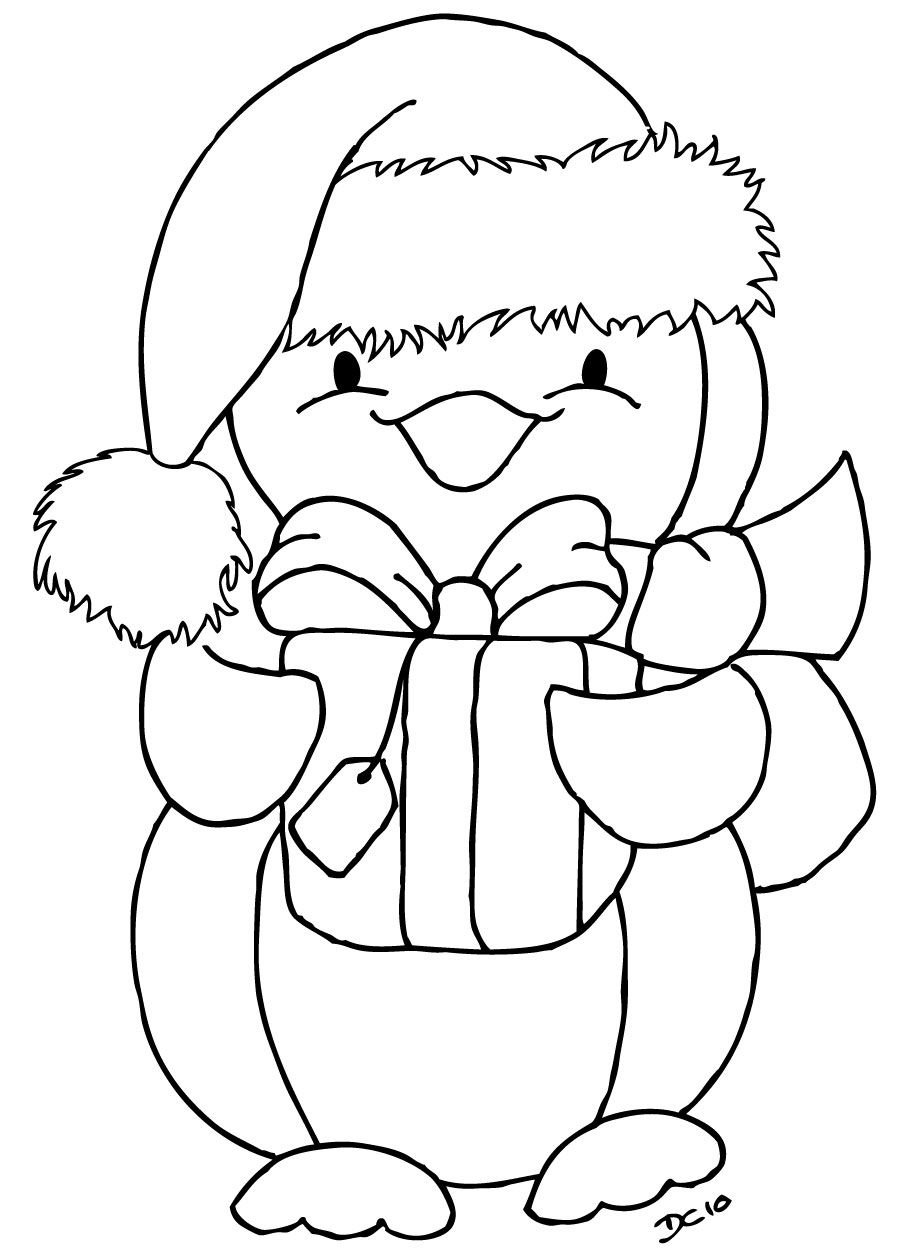 Christmas Penguin Penguin coloring pages, Christmas