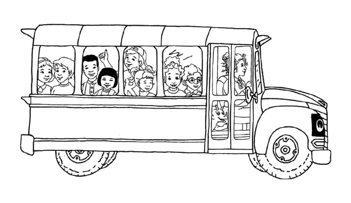 Magic School Bus Coloring Page I Can Add The Kids To My Paper