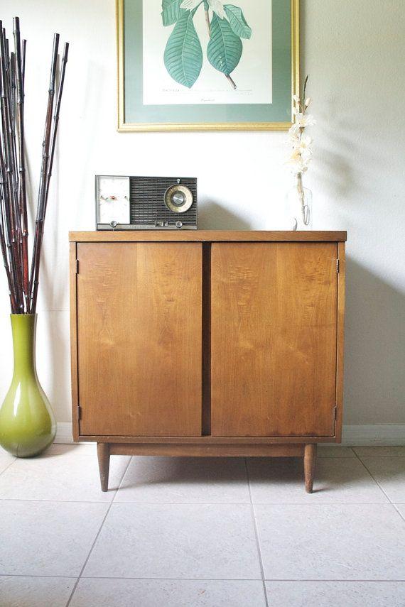 Mid Century Media Cabinet Retro Vinyl Storage Stereo Vintage Small Credenza 1960s Eames Mad Men Era