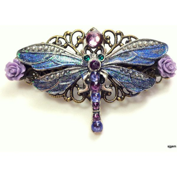 Dragonfly Garden Flower Barrette Crystal Barrette ($29) ❤ Liked On Polyvore  Featuring Accessories,
