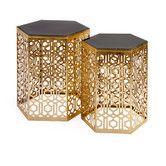 Found it at Wayfair - Nikki Chu Lancaster Gold Mirror Table - Set of 2
