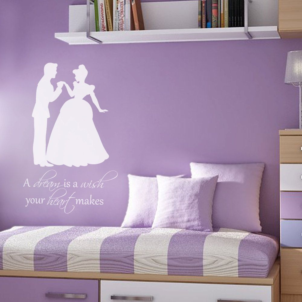 Princess, A Dream Is A Wish Your Heart Makes   Girls Bedroom Vinyl Wall  Decal