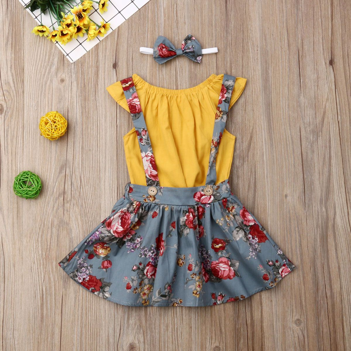 T-Shirt Strap Dress Kids Baby Girls Floral Suspender Skirt Bow 2PC Sets Outfits