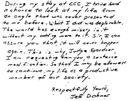Letter Jeffrey Dahmer wrote to judge; following the