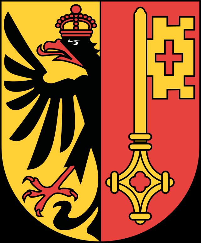 Sticker decal souvenir car coat of arms shield city flag switzerland geneva