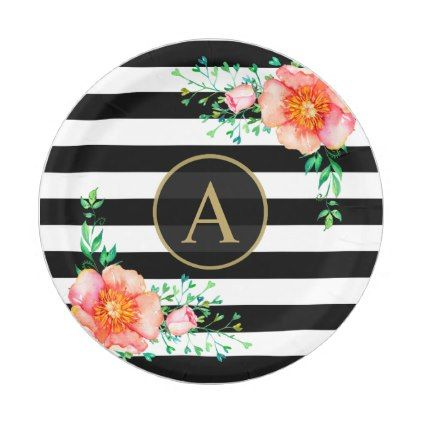 sc 1 st  Pinterest & Vintage Floral Gold Monogram Black White Striped Paper Plate