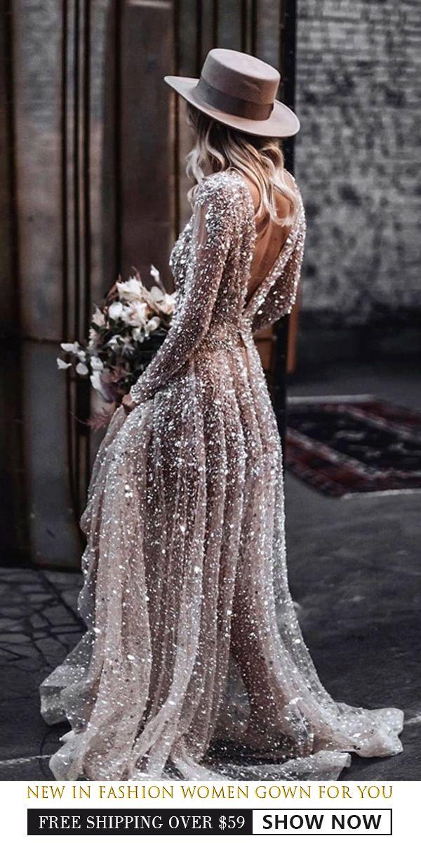 Photo of Fashion Round Collar Long Sleeved Bare Back Dress