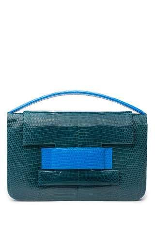 One of a kind lizard madison clutch in in teal by METALSKIN Preorder Now on Moda Operandi