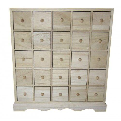 25 drawer plain wooden storage box or advent calendar. Black Bedroom Furniture Sets. Home Design Ideas