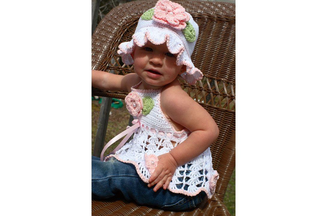 CC1-Toddler Crochet Summer Rose Halter & Hat Pattern