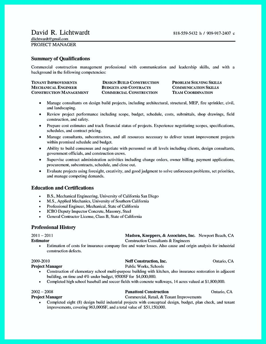 awesome Cool Construction Project Manager Resume to Get