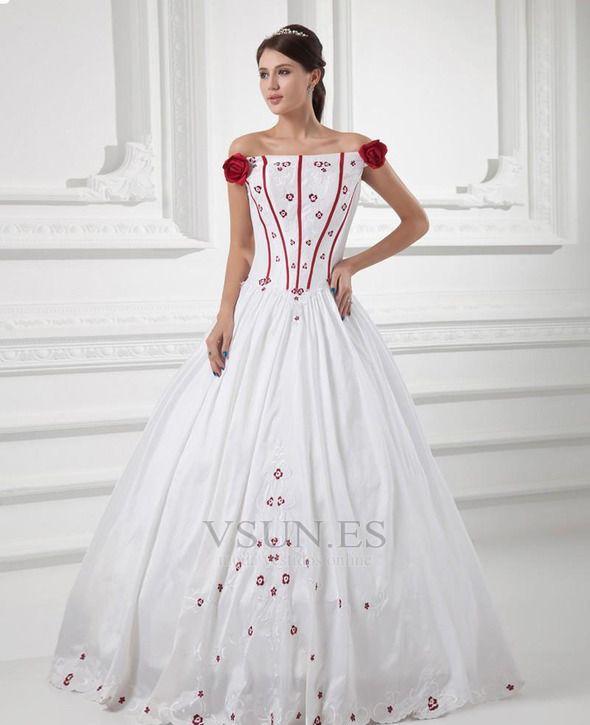 Vestido de novia Blanco Vasco Elegante Hasta el suelo Manga corta ...