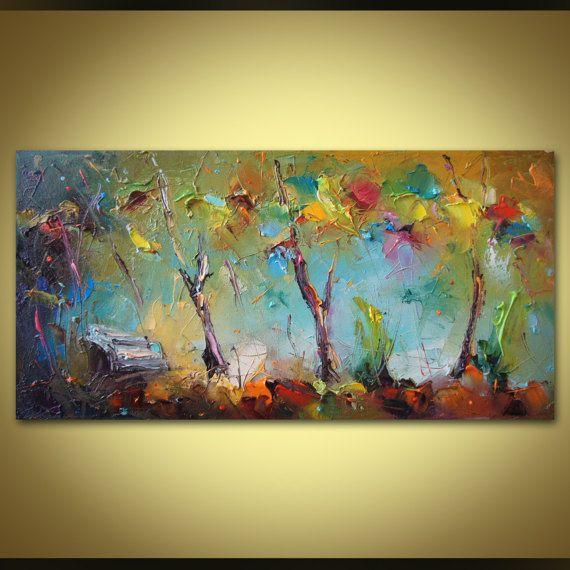 Kunst Gemälde Modern abstrakte malerei baum zeitgenössische malerei messer kunst leben