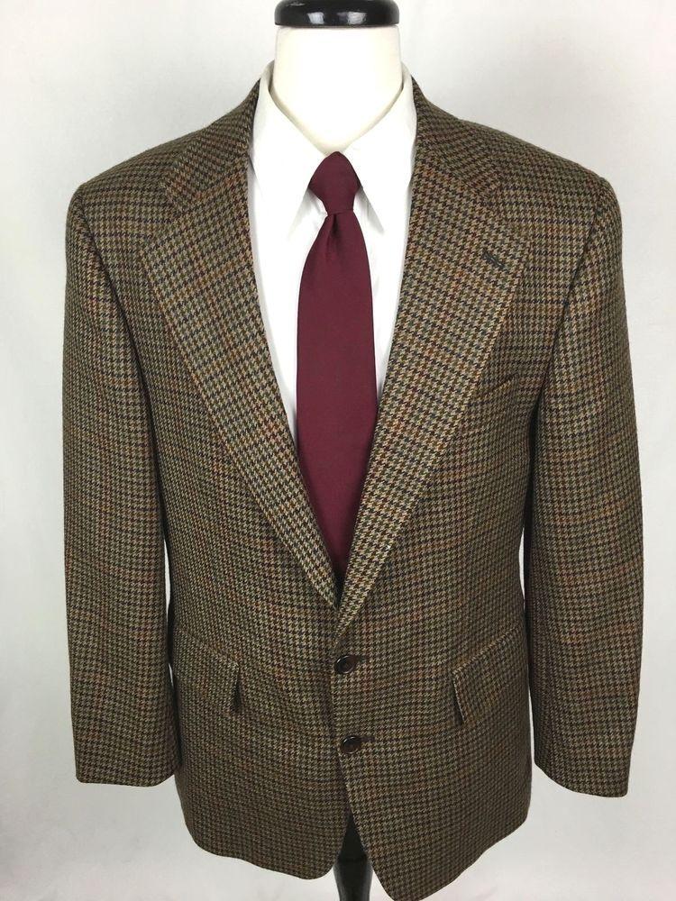 38ae52bf CHAPS Ralph Lauren Blazer 40 Brown Wool Houndstooth Sport Coat Jacket 40R  Mens #Chaps #TwoButton