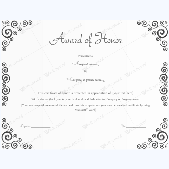 award of honor for great work award of honor certificate