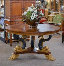 Beautiful Round Foyer Table With Inlaid Top, Gold And Black Dolphin Carved  Pedestal Base.