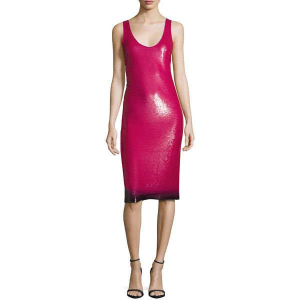 Ralph Lauren Collection Sequined Ombre-Hem Sleeveless Dress ($5,490) ❤ liked on Polyvore featuring dresses, hot pink, women's apparel dresses, ombre dresses, sleeveless dress, pink sequin cocktail dress, pink sleeveless dress and sequin dress