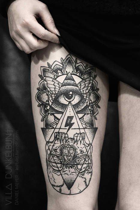 f582b6beaa973 UP AND DOWN DIRECTION Combination of triangles and lines and skull.  triangle tattoo | Tumblr