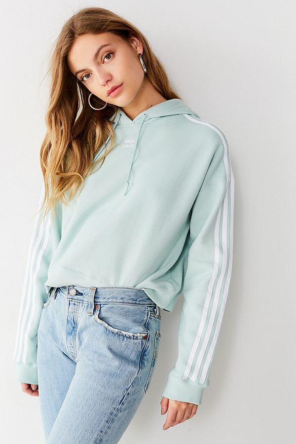 d45e80f83f625 adidas Originals Adicolor 3 Stripes Cropped Hoodie Sweatshirt | Urban  Outfitters