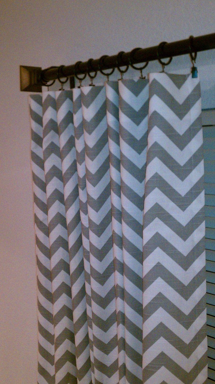 Pair Of 50 X 84 Inch Designer Custom Drapes Curtains Ash Gray And White Zig Zag