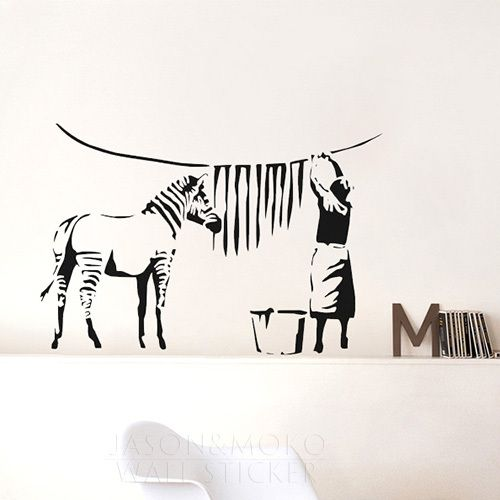 Aliexpresscom Buy Banksy Zebra Stripes Wash Vinyl Wall Sticker - Zebra stripe wall decals