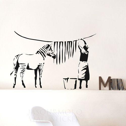 Banksy Zebra Stripes Wash Vinyl Wall Sticker Wall Decals Mural