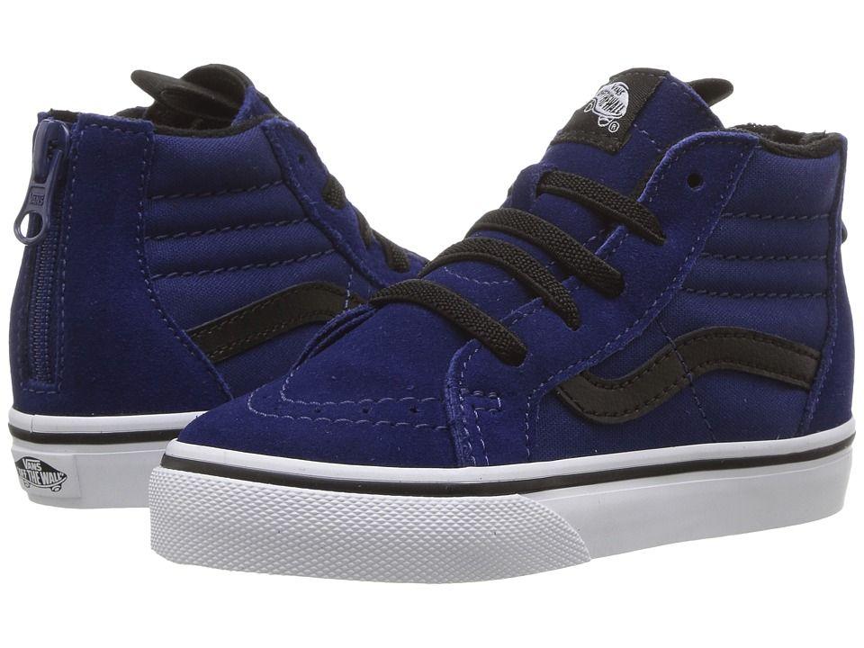 c65e6023f69b8b Vans Kids Sk8-Hi Zip (Toddler) Boys Shoes Blue Depths Black