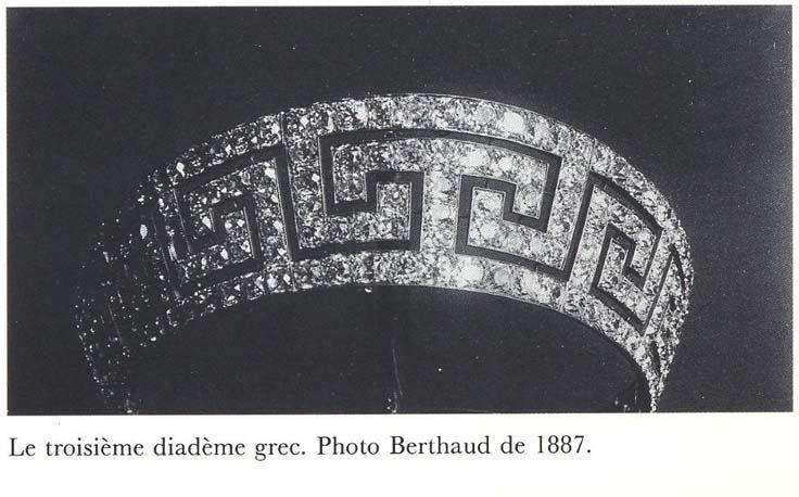 Greek key tiara, ca. 1887