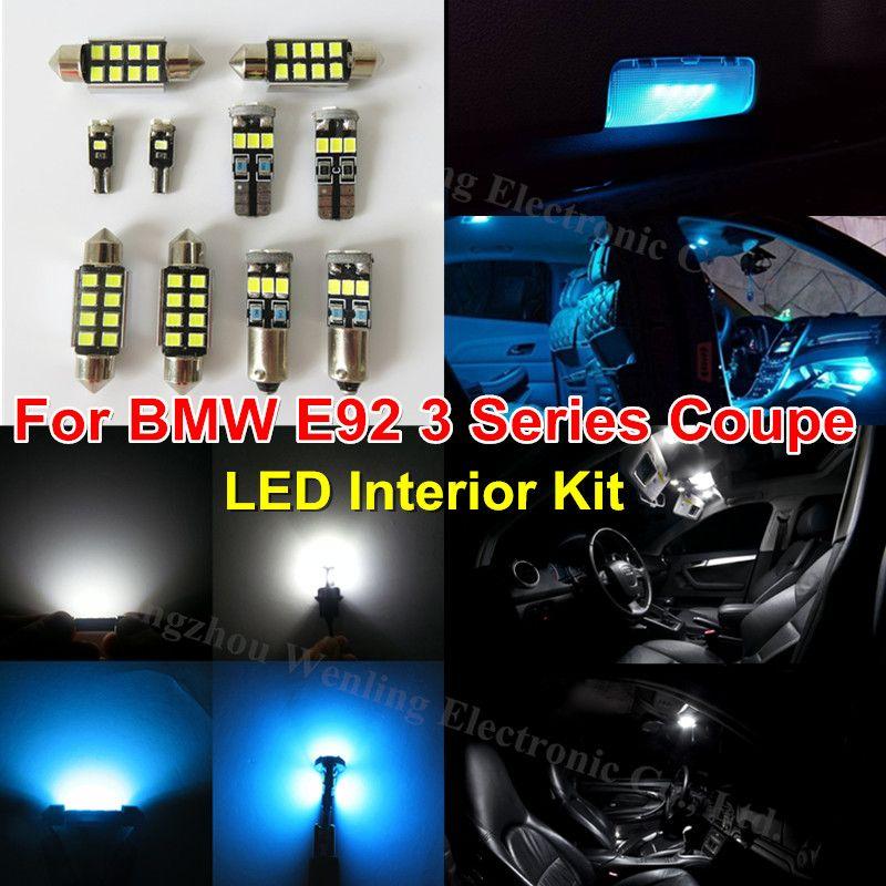 WLJH 18x Ice Blue Pure White Lighting Car LED Interior Kit for BMW ...