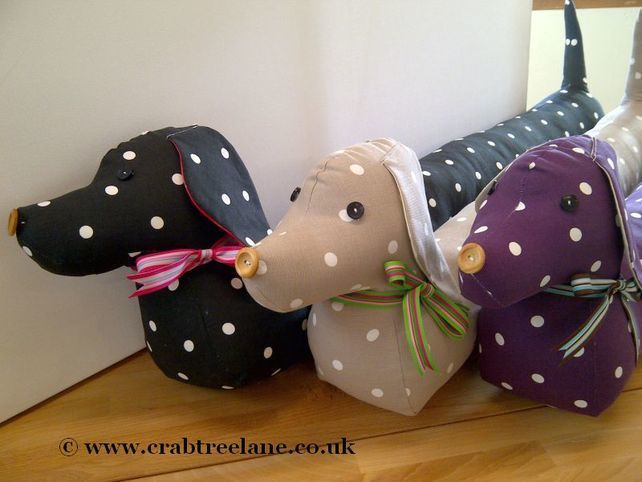 Vintage Style Sausage Dog Draught Draft Excluder - Taupe Dotty ...
