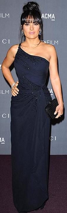 Salma Hayek: Dress and purse – Gucci Jewelry – Harry Winston | Just ...