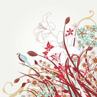 Flores rojas celestes y blancas con aves  Formas  Diseo