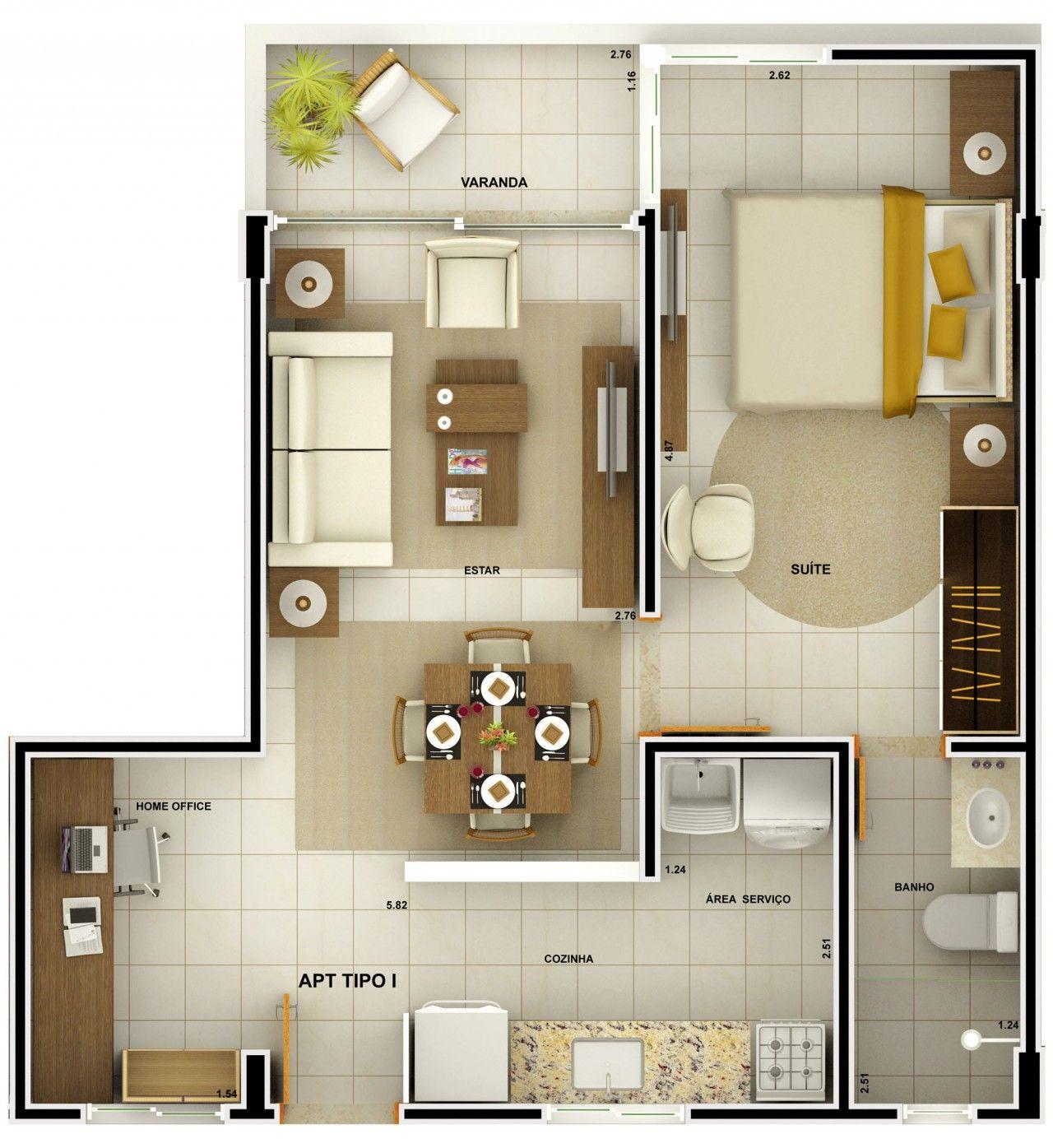 Projeto apartamento 90m2 pesquisa google rendered for Fotos de apartamentos bonitos